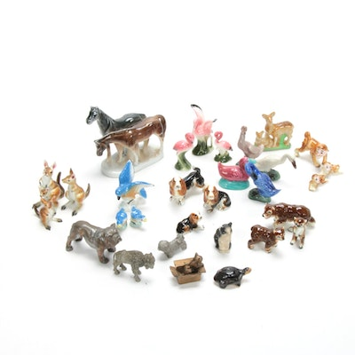 Miniature Animal Figurines in Porcelain and Metal