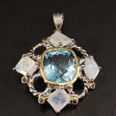 Sterling Silver Topaz, Labradorite and Sapphire Pendant