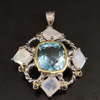 Sterling Silver Topaz, Labradorite and Sapphire Pendant