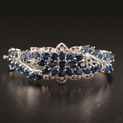 Sterling Silver Sapphire and Garnet Hinged Bangle Bracelet