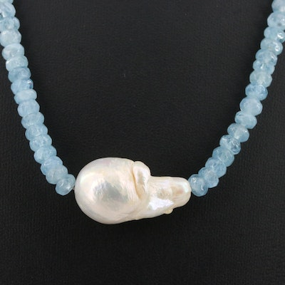 Aquamarine and Pearl Necklace with Sterling Silver Clasp