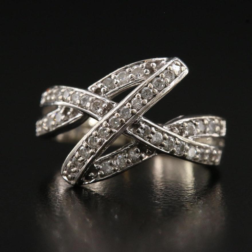 14K Diamond Crisscross Ring