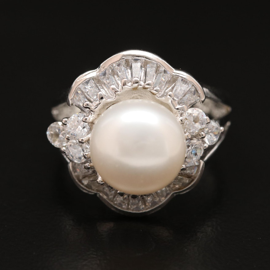 Sterling Silver Pearl and Cubic Zirconia Arabesque Ring