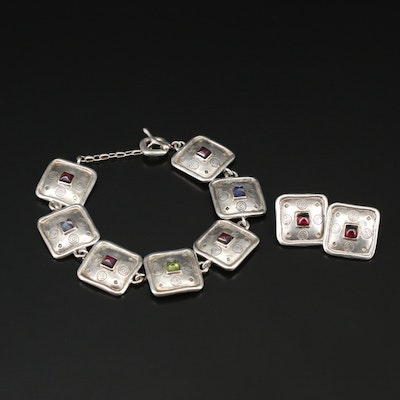 Michael Bromberg Sterling Silver Matching Bracelet and Earrings