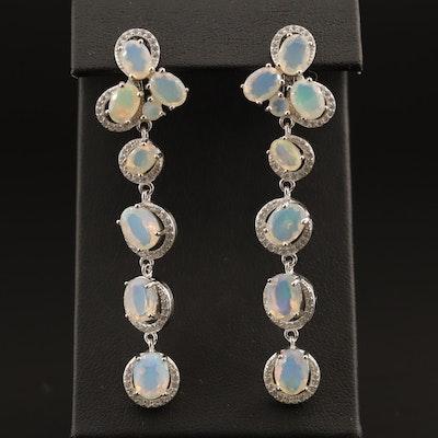 Sterling Opal and Cubic Zirconia Dangle Earrings