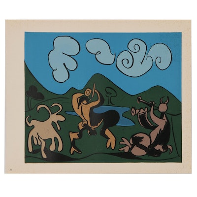 "Pablo Picasso Color Linoleum Cut ""Two Satyrs and Goat"", 1962"