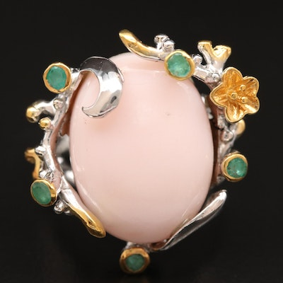 Sterling Common Opal and Emerald Ring
