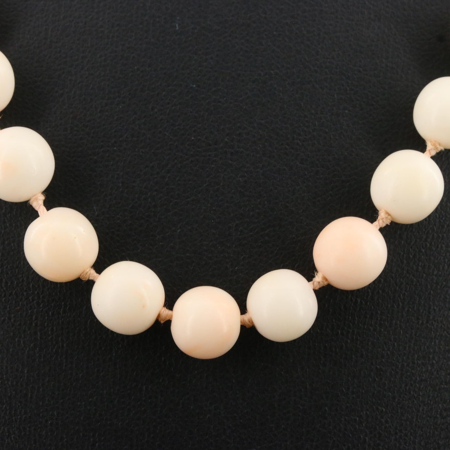 Vintage Beaded Coral Necklace with Sterling Clasp