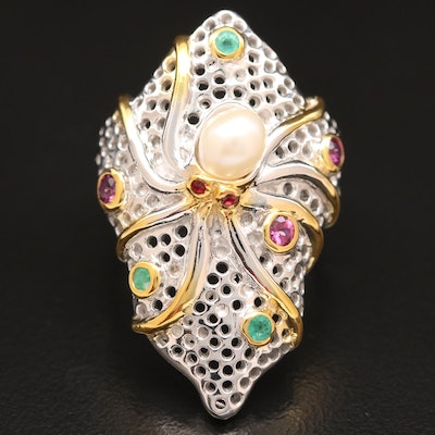 Sterling Pearl, Ruby and Emerald Octopus Ring