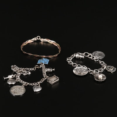 Vintage Sterling Charm Bracelets and Tri-Color Braided Herringbone Bracelet