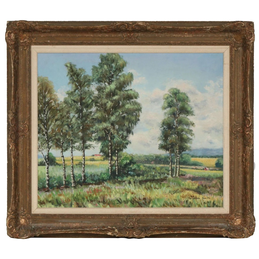Suzanne Smith Impressionist Style Oil Painting of Rural Field, Late 20th Century