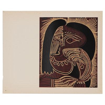 "Pablo Picasso Linoleum Cut ""Female Head with Necklace"", 1962"