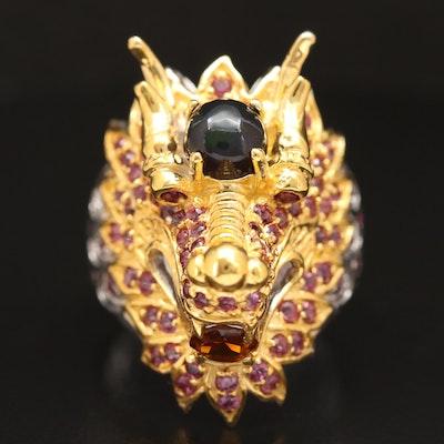 Sterling Silver Opal, Rhodolite Garnet and Citrine Dragon Head Ring