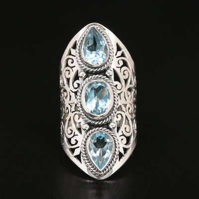 Sterling Silver Blue Topaz Openwork Ring