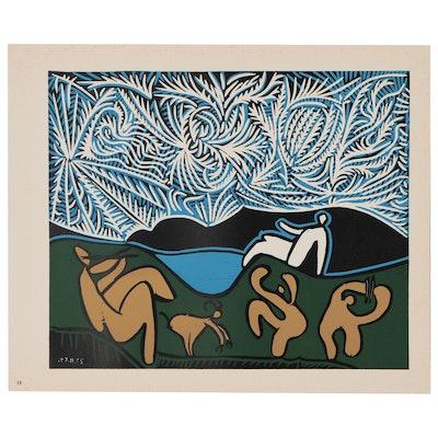 """Pablo Picasso Color Linoleum Cut """"Bacchanal with Goat"""", 1962"""