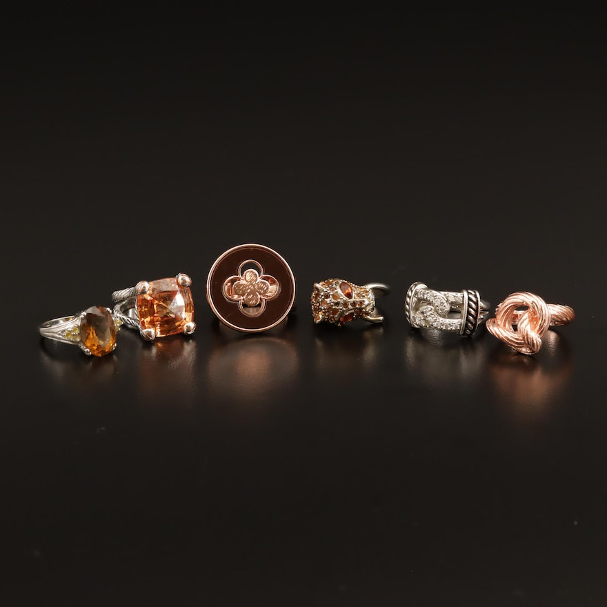 Citrine, Sapphire, and Cubic Zirconia Ring Selection Featuring Karis