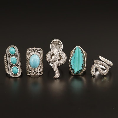 Rings Featuring Snake Motif and Rhinestones