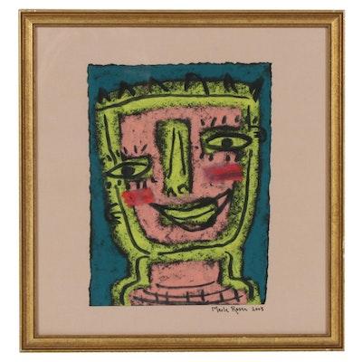 Merle Rosen Folk Art Pastel Drawing of Stylized Portrait, 2003