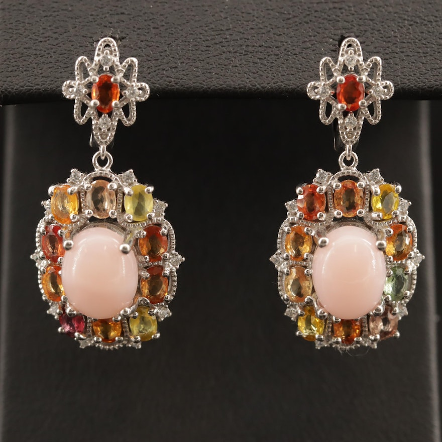 Sterling Silver Opal, Cubic Zirconia and Sapphire Drop Earrings