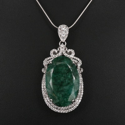 Sterling Silver Green Beryl and White Sapphire Necklace