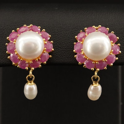 Sterling Silver Pearl and Ruby Earrings