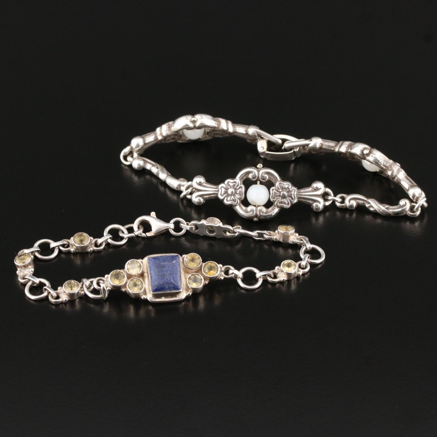 Sterling Silver Imitation Lapis, Citrine, and Plastic Beaded Bracelets