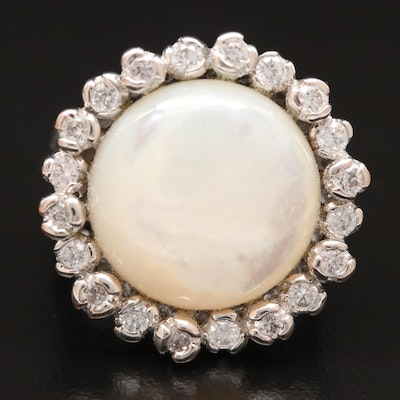 Mother of Pearl Ring with Cubic Zirconia Halo