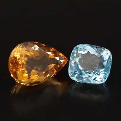 Loose 65.05 CTW Pear Faceted Topaz and Cushion Cut Citrine