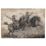 Edward Cornwall Gardner Ink Drawing of Cavalrymen, 1838