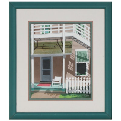 J. O'Malley Gouache Painting of Picket Fence and Porch Scene