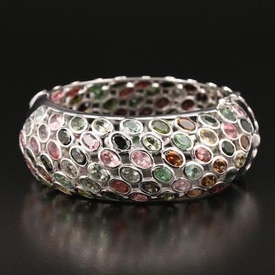 Sterling Silver Tourmaline Hinged Bangle Bracelet
