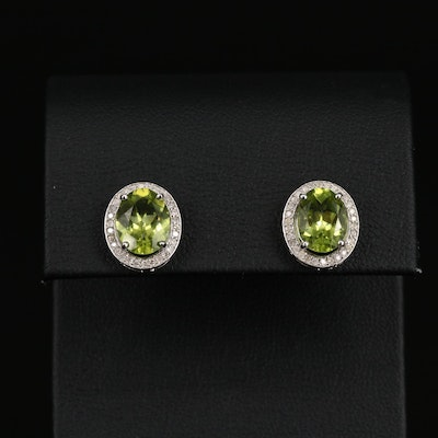 Sterling Silver Peridot Earrings with Diamond Halos