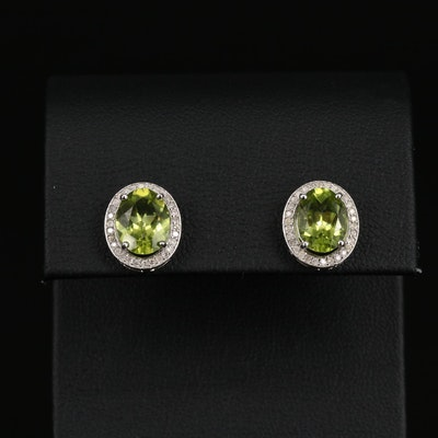 Sterling Silver Peridot Earrings with Diamond Halos