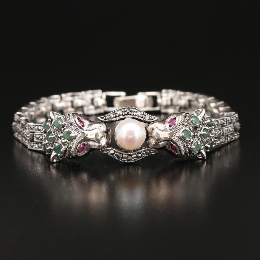 Sterling Silver Pearl, Emerald and Marcasite Double Feline Bracelet