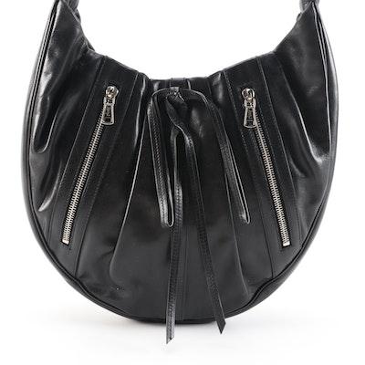 Yves Saint Laurent Rive Gauche Black Pleated Leather Shoulder Bag