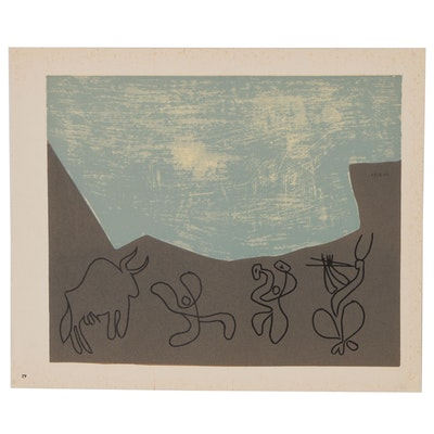 "Pablo Picasso Linoleum Cut ""Bacchanal with Bull"", 1962"