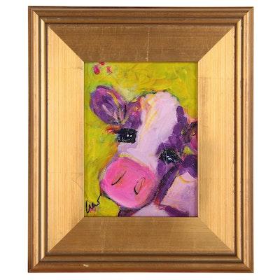 "Susan Crew Mixed Media Acrylic Painting ""Joy"", 21st Century"