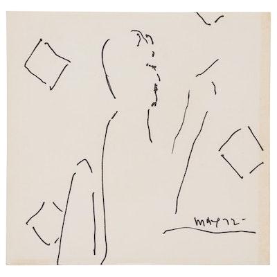Peter Max Ink Drawing Portrait of David Leddick, 1972