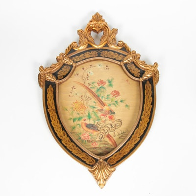 Giltwood Framed Wall Plaque Depicting Birds