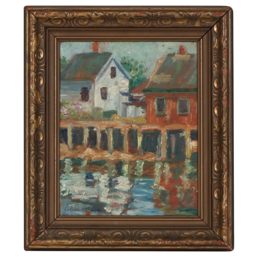 "Lilian Griffen Oil Painting ""Reflections"", Early to Mid 20th Century"