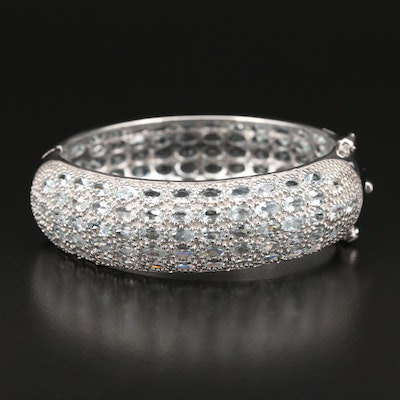 Sterling Silver Aquamarine Hinged Bangle Bracelet