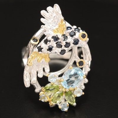 Sterling Silver Topaz, Peridot and Sapphire Hummingbird Floral Motif Ring