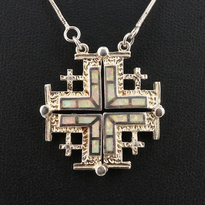 Sterling Silver Cubic Zirconia and Opal Jerusalem Cross Pendant Necklace