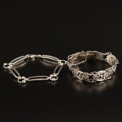 Sterling Link Bracelets Featuring Vintage Norseland