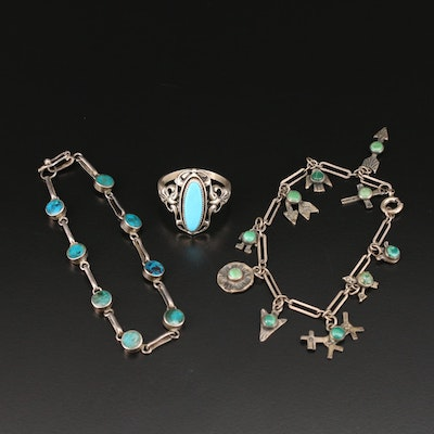 Sterling and 950 Silver Turquoise Ring and Bracelets