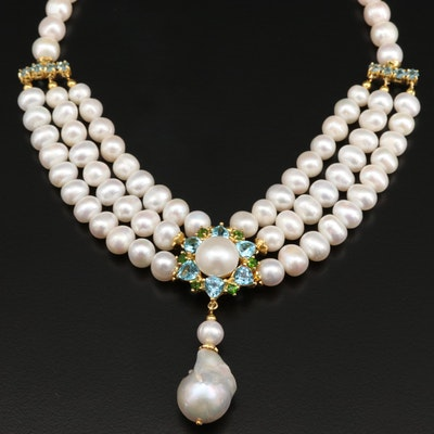 Sterling Silver Pearl, Topaz, and Diopside Drop Necklace