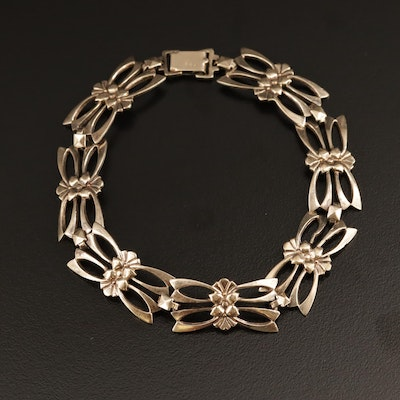 1930s Symmetalic Sterling Floral Bracelet with 14K Gold Accents