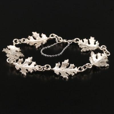 Sterling Silver Oak Leaf Link Bracelet
