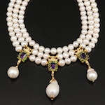 Triple Strand Graduated Pearl Necklace with Amethyst and Diopside Accents