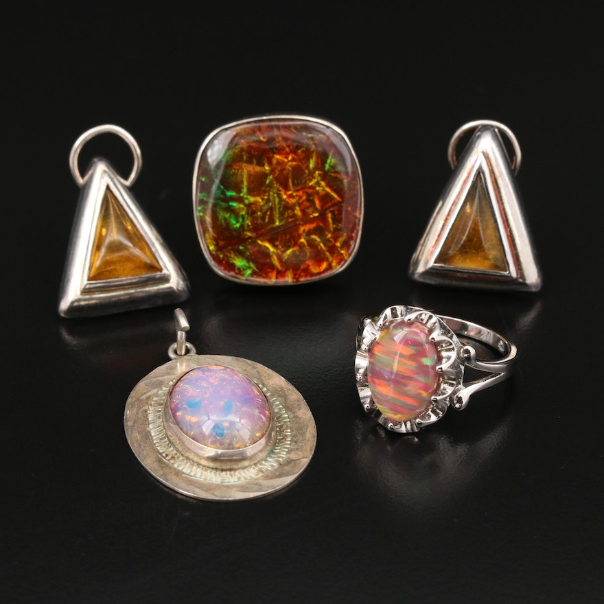 Sterling Silver Rings, Earrings, and Pendant Featuring Dichroic Glass Accents